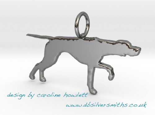 Pointing english pointer pendant sterling silver handmade by saw piercing Caroline Howlett Design